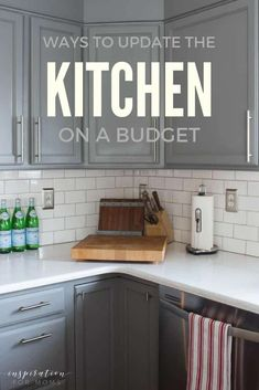 Oct 2019 - A dramatic update to your kitchen doesn't have to break the bank. Update your kitchen on a budget with a few low cost projects and deliver big results! Semarang, Built In Cabinets, Kitchen Cabinets, Kitchen Counters, Dark Cabinets, Home Renovation, Home Remodeling, Kitchen Remodeling, Cheap Renovations
