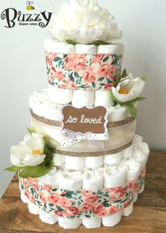 Boho Floral 3 Tier Diaper Cake with Flower Blossom Topper  . . . Matching MINI single tier diaper cakes are available in this same design! They are made with 10 diapers, are $10, and are the perfect size for the guestbook/welcome table or for guest table centerpieces! Message me to add-on minis to your order!  .. . . At checkout, I will ask for your shower date so that all of my orders are managed appropriately and timely. If you select a date that is LESS THAN 10 DAYS at the time you…
