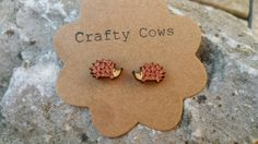 £5.50 Wooden hedgehog earrings rustic woodland by TheCraftyCowShed