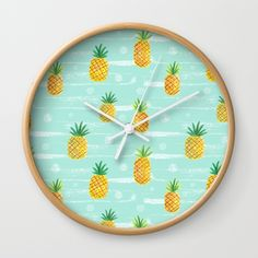 Pineapple Dots Wall Clock by Yellow Button Studio | Society6