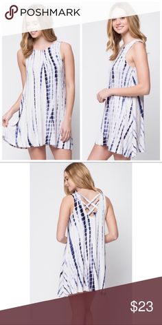 Boho Navy Tie Dye Cross Back Tunic Dress S M L Navy Tie Dye Cross Back Dress, 95% Rayon 5% Spandex Blend. Available in size Small, Medium, or Large. ARRIVING SATURDAY/SHIPPING MONDAY!  No trades, price firm unless bundled.  BUNDLE 3 OR MORE ITEMS FOR 15% OFF!! Boutique Dresses Mini