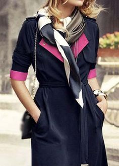 High Quality Turndown Collar Trench Coat for Lady - Black