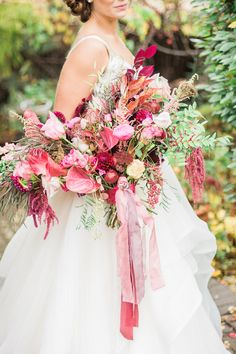 Red and pink berry bridal bouquet with ribbons | Anna Markley