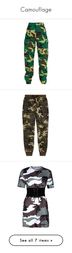 """""""Camouflage"""" by slaybxby ❤ liked on Polyvore featuring pants, bottoms, camo trousers, khaki pants, camouflage pants, cargo trousers, camo cargo pants, men's fashion, men's clothing and men's sleepwear"""