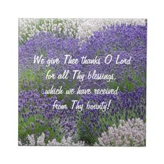 Prayer of Thanks Lavender Garden Tile #religion #faith #prayers