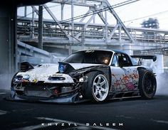 """This Miata is so """"Frankster!"""" (That is Frankenstein & Gangster combined. Mazda Mx 5, Mazda Miata, Drifting Cars, Tuner Cars, Japan Cars, Futuristic Cars, Car Tuning, Modified Cars, Amazing Cars"""