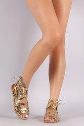 Qupid Metallic Caged Back Lace-Up Flat Sandal