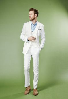 Sooner or later, every man has to break out the white suit. A few quick tips to keep in mind: Save it for outdoor occasions (preferably during the Summer) and always go for the slim fit