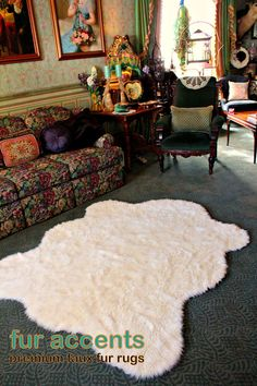 NEW / Fine Shaggy Off White Area Carpet / by PremiumFauxFurRugs, $159.95