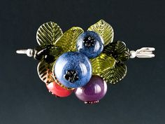 Four Blueberry Brooch with Handmade Glass Leaves on Sterling Silver Pin