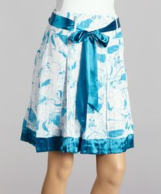 Another great find on #zulily! Farinelli Blue & White Floral Sash Tie Skirt by Farinelli #zulilyfinds