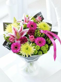 Personalised Celebration Hand Tied Flower Arrangements Delivery Next Day Bouquet