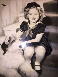 Shirley Temple and big dog,Poor Little Rich Girl,1936.