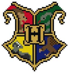 Show your school pride! This PDF includes FIVE patterns bundled into one PDF, one for each Hogwarts house and one for Hogwarts! Each (easy stitch patterns) Pixel Art Harry Potter, Harry Potter Perler Beads, Harry Potter Cross Stitch Pattern, Harry Potter Crochet, Cross Stitch Designs, Cross Stitch Patterns, Cross Stitch Charts, Knitting Patterns, Animal Crossing