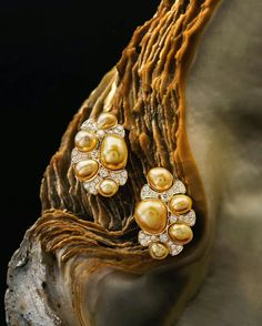 @charliebarronpearls. Our Golden Keshi pearl and diamond ear clips! Pearls from the Philippines.