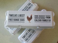 15 x Brand new egg cartons with personalised labels
