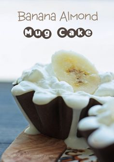 Banana Almond Mug Cakes (low carb and gluten free) by Mellissa Sevigny at ibreatheimhungry.com