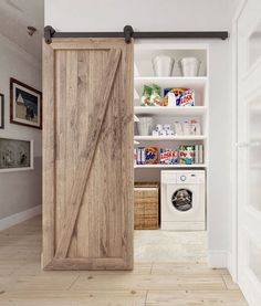 Int2 architecture Laundry room with barn door