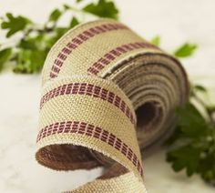 Pottery Barn's burlap stripe ribbon... did you know you can also buy this at Walmart!