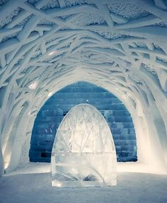 The IceHotel, Sweden: Reception – ice sculptures are found all over the building. Ice Hotel Sweden, Scenic Photography, Night Photography, Landscape Photography, Ice Art, Snow Sculptures, Ice Castles, Snow Art, A Whole New World