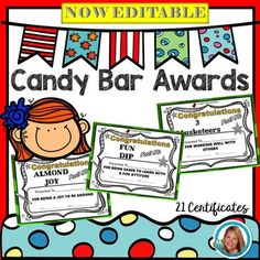 Want to make your students and parents feel special?  Candy Bar Awards are perfect for celebrating students strengths! Give them an award with a candy bar.  The parents love the award that fits the child's character and the kids will remember getting a candy bar from their favorite teacher!Included in this editable download:3 Musketeers  works well with others 100 Grand  works hard Almond Joy  joy to be around Babe Ruth  hits a homerun with good grades Bit-O-Honey  sweetBubble Yum  fun and…