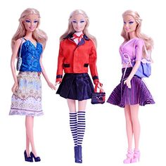 3 Sets Beautiful Casual Wear Dating Dress Blouse Skirt Clothes Accessories Handbage Shoes for Barbie Doll Style 1 >>> Want additional info? Click on the image.