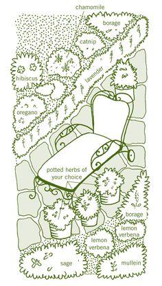 Herbal Tea Gardens: Relaxation Garden Plan—grow calming herbs such as chamomile, lavender, sage, borage and lemon verbena.