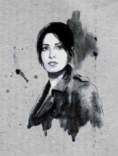 Sameen Shaw. Person of Interest.—-black pen, copic marker and watercolor on paper.