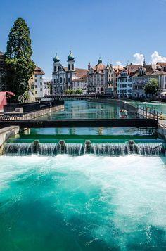 Reuss river in Lucerne, Switzerland.