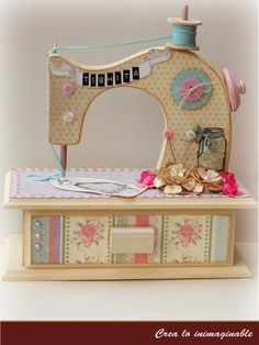 New sewing room ideas country Ideas Wood Crafts, Diy And Crafts, Paper Crafts, Wood Projects, Craft Projects, Sewing Crafts, Sewing Projects, Antique Sewing Machines, Country Paintings