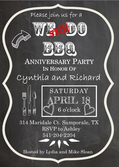 We still do BBQ on Wood anniversary party invitations - LİV 25 Wedding Anniversary Gifts, Anniversary Party Invitations, Anniversary Gifts For Parents, Marriage Anniversary, Anniversary Parties, Anniversary Ideas, Bbq Ideas, Party Ideas, Wood