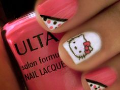 Get these Hello Kitty #nails with stickers. #nailart http://www.ivillage.com/best-nail-art-teen-and-tween-girls/6-a-527284#
