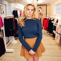 French employee Manon in classic knitwear and the Corduroy Circle Skirt.