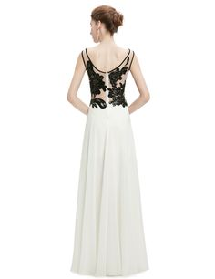 9b28d0dcf2c0 Evening Dresses 2017 Sexy Chiffon O-neck Ever-Pretty Long White and Black  High Quality Organza Lace Evening Dresses