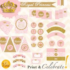 Royal Princess Party for 1st Birthday Party, Baby Shower or Baptism in Gold and rose - Custom Printable Kit by VivaPrintCelebrate on Etsy https://www.etsy.com/listing/218328929/royal-princess-party-for-1st-birthday