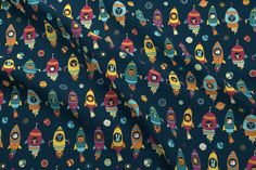 Animal astronauts in space on dark blue Astronauts In Space, Spoonflower, Dark Blue, Animals, Galaxies, Planets, Space, Stars, Animales