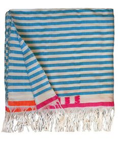 Blue striped bed cover.