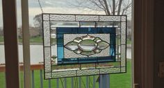 Beveled stained glass window panel Clear steel blue by SGHovel