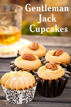 Gentleman Jack Cupcakes Recipe - A golden butter cake cupcake and silky icing infused with the pairing of Gentleman Jack Tennessee whiskey, and Wilton Cake Decorating's Salted Caramel Treatology Flavoring. - By Sweets to Impress