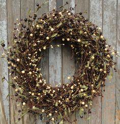 Pip Berry Wreath, Berry Wreath, Burgundy, Black, Cream Pip Berry Wreath, Fall Pip Berry Wreath, Year Round Pip Berry Wreath, Rustic Wreath by WhimsyChicDesigns on Etsy