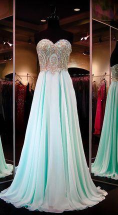 Long A-Line Sweetheart Sequins Chiffon Prom Dresses 2017