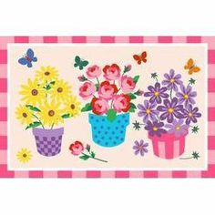 """Blossoms and Butterflies Kids Rug - Size 39"""" x 58"""" by LA Rugs. $49.40. Dimensions are in inches. Material: 100% Nylon. 39""""x58"""" 100% Nylon, Fire Retardant, Easy to clean, Made in Egypt"""