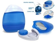 3 in 1 Contact Compact  Top Features include: Waterproof Contact Case  Ideal for keeping in your dorm shower caddy Solution Reservoir, Mirror & Contact Case all in one 3oz Carry On Size (for flying)