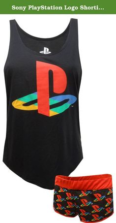 Sony PlayStation Logo Shortie Pajama for women (Medium). Awesome! This pj set for women features Sony's PlayStation logo. Updated styling on this slouchy tank looks great. The tank is longer in the back than the front. The wide elastic waist shorts have the PlayStation logo and red piping details. Machine washable , junior cut.