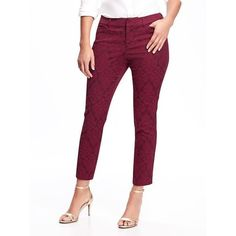 Old Navy Womens Mid Rise Pixie Jacquard Pants ($20) ❤ liked on Polyvore featuring pants, cranberry cocktail, petite, petite white pants, patterned pants, white stretch pants, zipper pants and evening pants