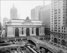 Grand Central Station in the 1940s. Grand Central Station was built by and named for the New York Central Railroad in the heyday of American long-distance passenger trains.