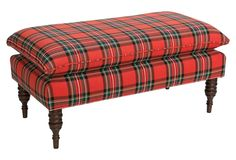 Eva Pillow-Top Bench, Red Plaid