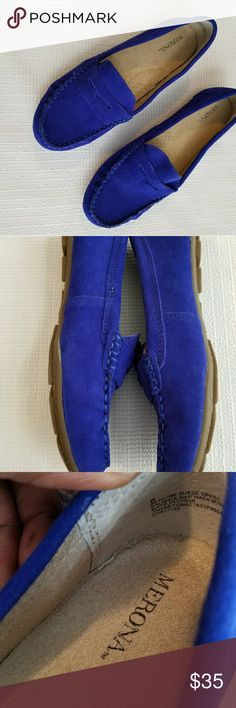 Blue Suede Shoes Genuine suede royal blue penny loafers! EUC... Merona Shoes Flats & Loafers