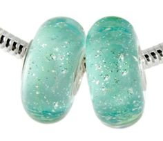 Aqua Teal Silver Flake Glitter Beads: Two Bead Set of 925 Sterling Silver Full Core Slide On Bracelet Beads Fit Pandora, Biagi, Troll Beautiful Silver Jewelry. Save 69 Off!. $14.95. Pandora, Troll, Biaggi and European Bracelet Compatible. Two Aqua Teal Murano Beads With Silver Flake Glitter Inside Beads. Beautiful Color and Sparkle For Your Pandora-compatible Bracelet. Full Core 925 Sterling Silver Beads - Two Bead Set