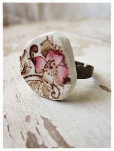 Vintage recycled porcelain plate  piece shaped into a ring. Genius.